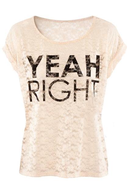 ROMWE | Yeah Right Pink Lace T-shirt, The Latest Street Fashion