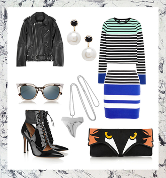 style scrapbook blogger sunglasses black heels pearl striped sweater striped skirt bodycon skirt fox pendant leather jacket winter outfits jewelry necklace shark tooth shark tooth necklace shark tooth jewelry silver necklace
