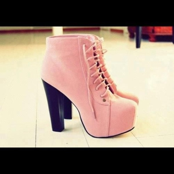shoes heels laces sneakers pink pink heels chunky heels rose wedges barbie shoes gorgeous yaaas lace up boots jeffrey campbell girly fashion style booties