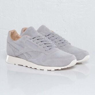 shoes reebok sneakers grey gris blanches leather cuir women daim cl classics classic