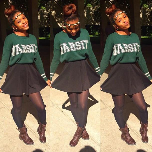 skater skirt black skirt forest green knitted sweater