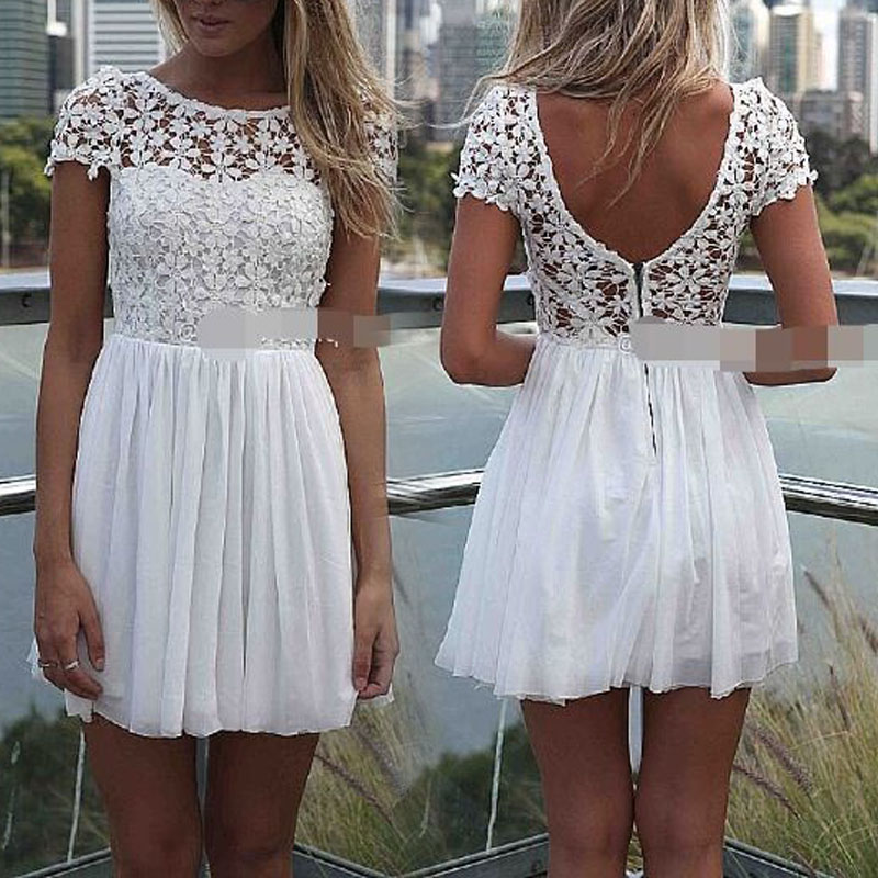 Summer dress 2014 New Women Girl Celeb Lace Chiffon Sexy Backless Hollow out Pleated Party Evening Beach Dresses on Aliexpress.com