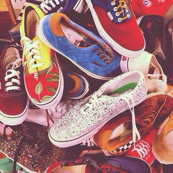 shoes vans love them all types multicolor pattern blue blue converse red