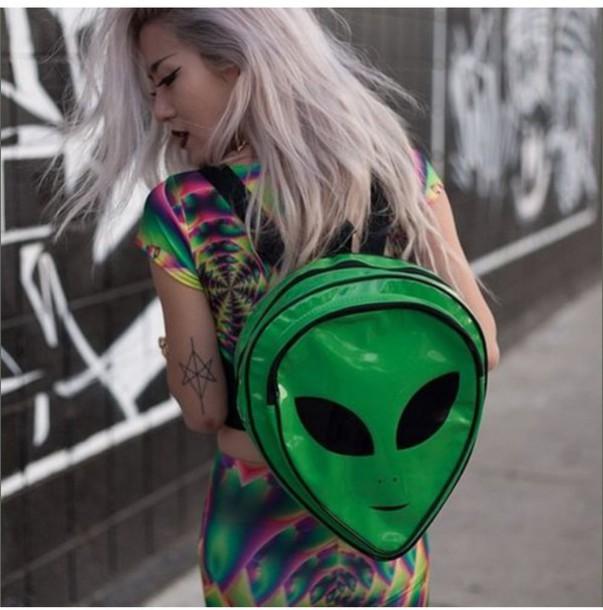 bag alien green bag lol 90s grunge