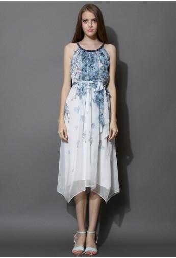 Beads Collar Watercolor Printed Chiffon Midi Dress - Retro, Indie and Unique Fashion