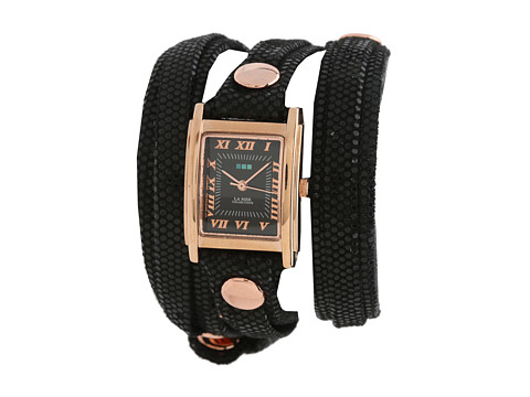 La Mer Black Sequin Layer Wrap Watch Rose Gold Black Dial Square Case and Rose Gold Case - Zappos.com Free Shipping BOTH Ways
