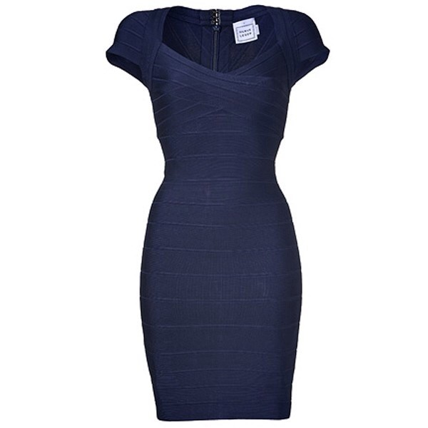 dress bandage dress blue dress navy short sleeve herve leger