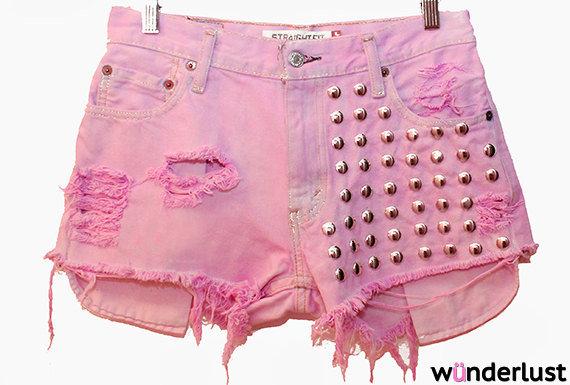 The Jenna Shorts (pink, high-waisted, studded, cutoff shorts) on Wanelo