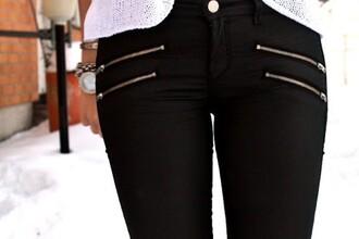 pants jeans zip black black jeans skinny jeans black pants cute skinny gold zips faux leather