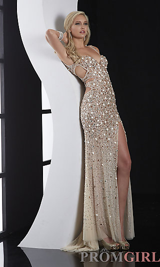Prom Dresses, Celebrity Dresses, Sexy Evening Gowns - PromGirl: Long Sweetheart Dress with Side Cut Outs