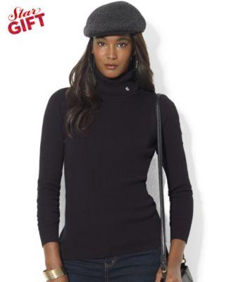Lauren Ralph Lauren Long-Sleeve Striped Colorblock Sweater - Sweaters - Women - Macy's