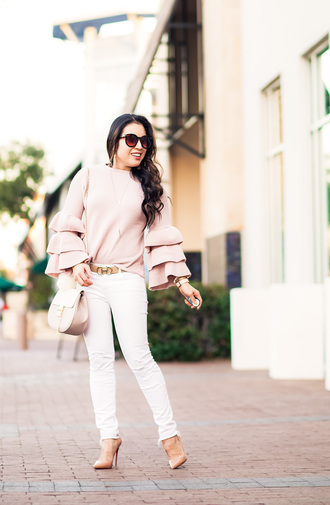 cute & little blogger top sweater belt jeans shoes bag jewels sunglasses ruffle pink sweater nude heels white pants high heel pumps