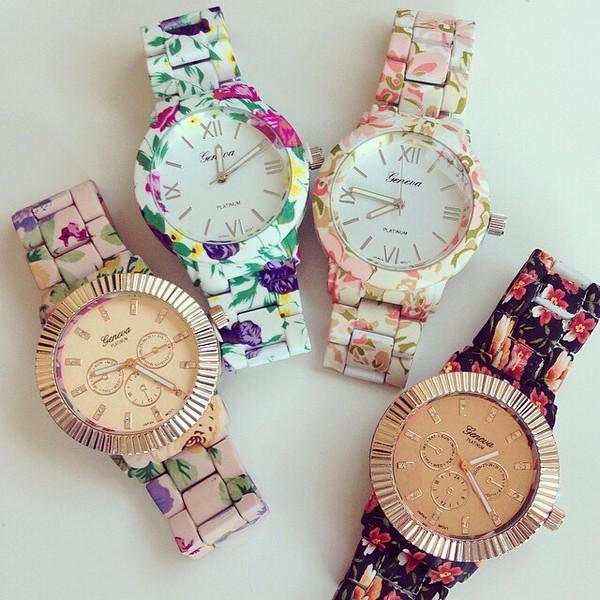 jewels floral watch watch bloom flower watch jewelry bracelets green yellow