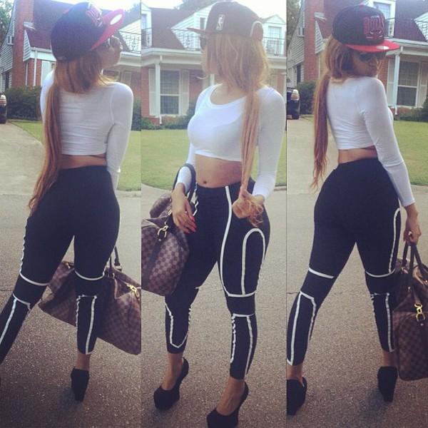 pants black and white shoes bag hat shirt leggings