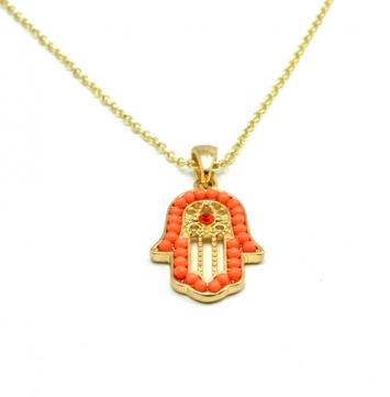 Orange Hamsa Pendant Necklace