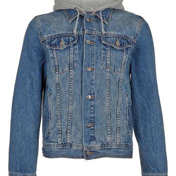 MID WASH HOODED DENIM JACKET - Men's Jackets & Coats - Clothing - TOPMAN USA on Wanelo
