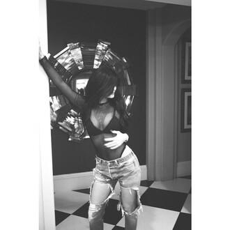 top jeans kylie jenner kardashians jumpsuit style outfit american apparel lingerie bra black body mesh ripped jeans mesh top bodysuit t-shirt shirt mesh shirt fashion mesh bodysuit
