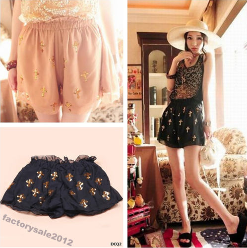 Sequins Cross Pattern Chiffon Skirt Culottes High Waist Shorts Black Beige DCQ | eBay
