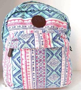 bag aztec rucksack backpack back to school tumblr colorful style school bag blue pink billabong fashion