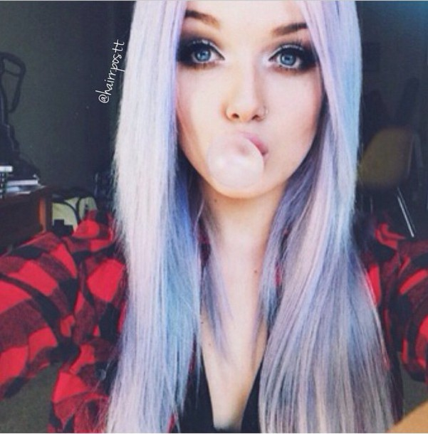 blouse purple hair