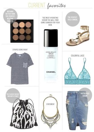 frankie hearts fashion blogger t-shirt flats sandals ripped denim skirt lace bra bucket bag shoes bag jewels skirt