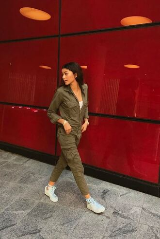 jumpsuit olive green pants sneakers top zendaya instagram