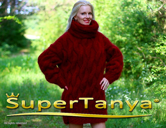 Extra thick red hand knitted mohair sweater with by supertanya