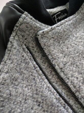 coat wool grey streetwear street goth menswear mens jacket bomber jacket mens bomber jacket