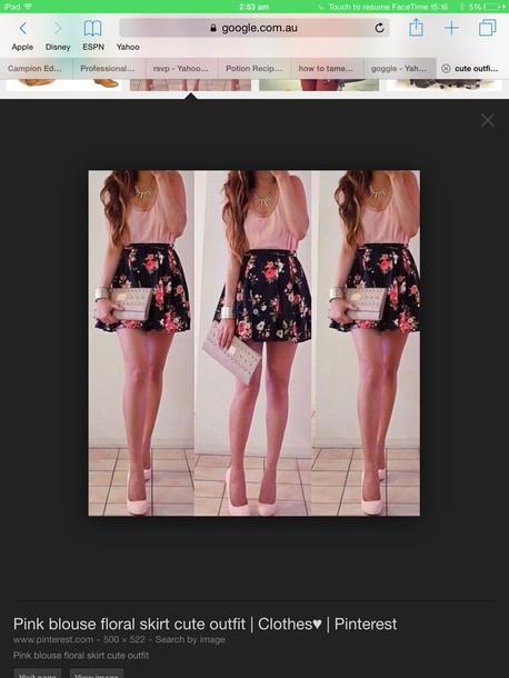 blouse flowers black skirt