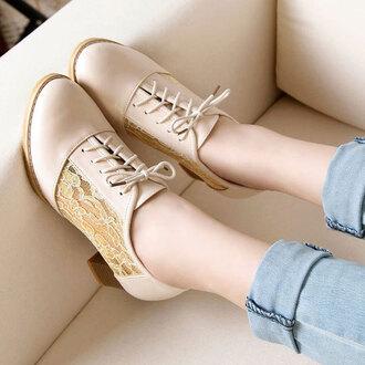 shoes low heel sweet lace up block heel