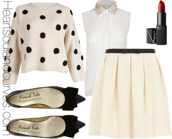 blouse sweater skirt shoes make-up