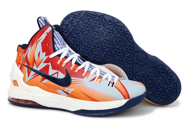Kevin Durant 5 Niek Zoom KD Basketball Shoes Orange Navy Graphic PE
