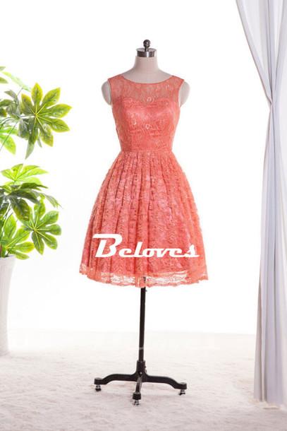dress coral lace short party dress 2015 lace boat neckline dress