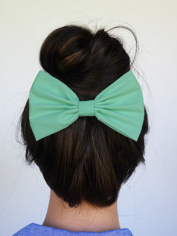 Mint Hair Bow Alligator Clip handmade accessories bow by JuicyBows
