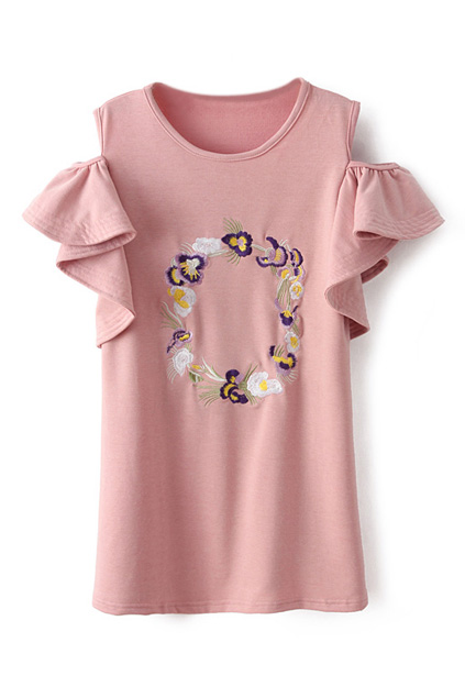 ROMWE | ROMWE Off Shoulder Flouncing Floral Embroidered Pink T-shirt, The Latest Street Fashion