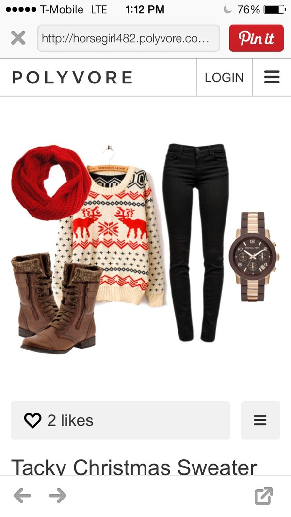 sweater cute pants combat boots scarf watch shoes