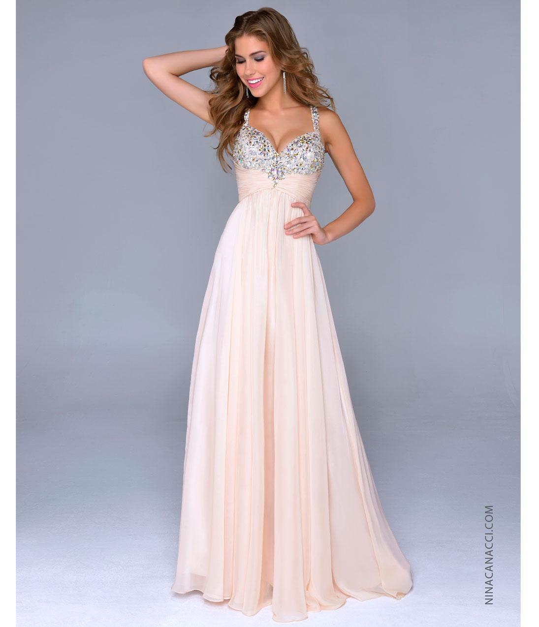 Nina Canacci 2014 Prom Dresses - Nude Chiffon & Beaded Bodice Prom Gown - Unique Vintage - Prom dresses, retro dresses, retro swimsuits.