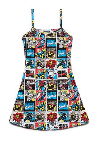 Marvel Comics Skater Dress (Kids) | FOREVER21 girls - 2000070268