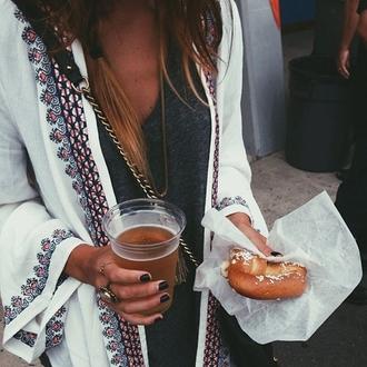 blouse white blouse patterned top flowy blouse cardigan kimono kaftan tribal pattern festival white white cardigan hippie see through pattern caftan