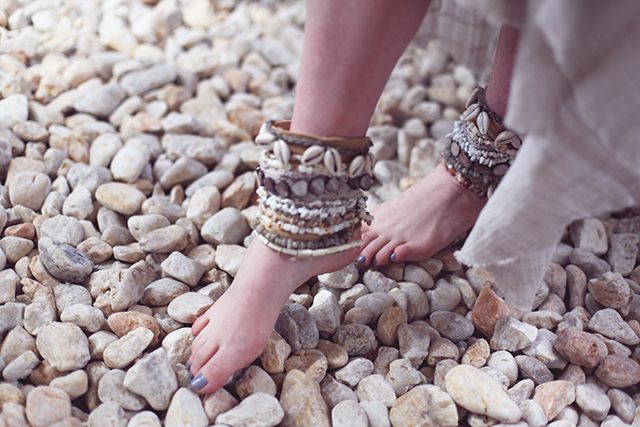 DIY Shell Embellished Ankle Cuffs