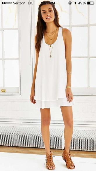 dress white white dress frock flowy racerback