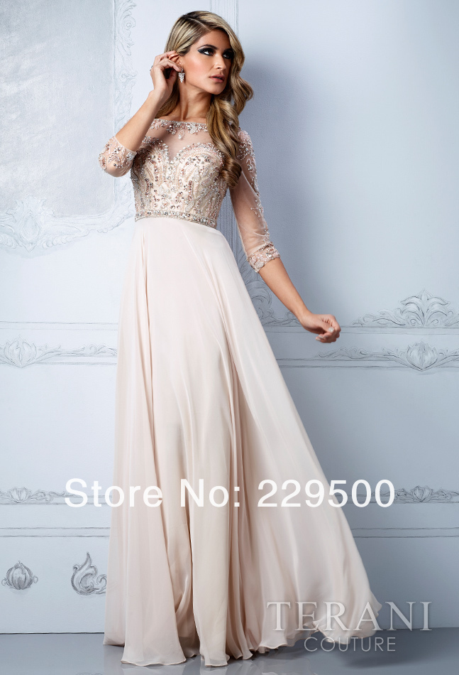 2013 New Arrival Beige Long Chiffon Beading Crystal Prom Dresses Party Formal Gown 3/4 Sleeves Evening Dress-in Evening Dresses from Apparel & Accessories on Aliexpress.com
