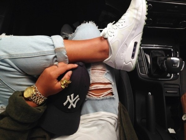 shoes white trainers white sneakers jeans air max