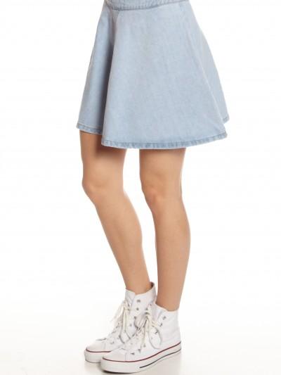 Skater Skirt in Light Blue Denim - Glue Store