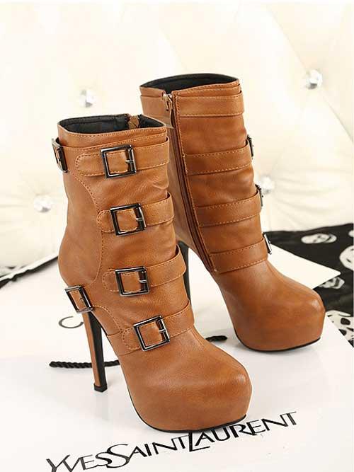 Women's PU Buckle Side Zip High Stiletto Boots  -  BuyTrends.com