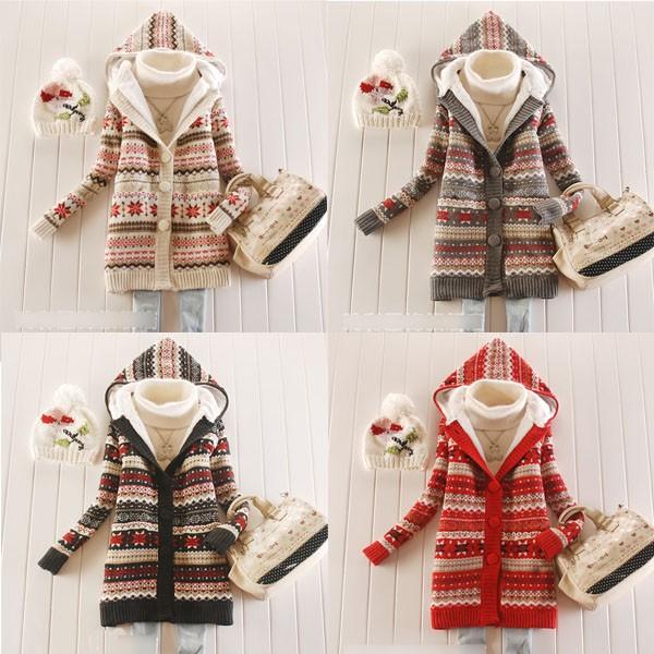 Women Knitwear Thick Winter Hooded Cardigan Coat Loose Sweater Jacket Lined Tops | eBay