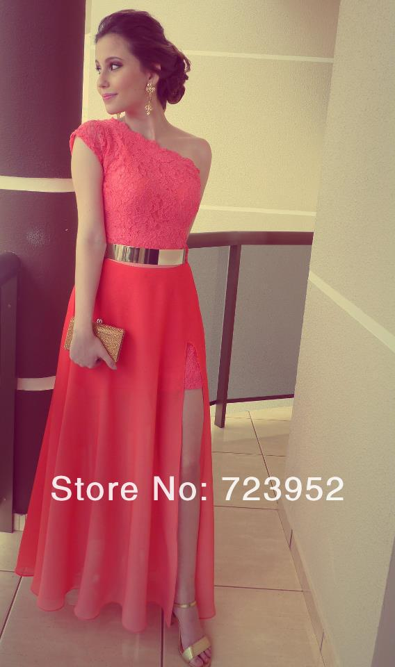 Dresses Coral Color Vestidos Formales Best Seller Lace One Shoulder Side Slit Gold Belt Prom Gowns Fromal Evening Maxi Dresses-in Evening Dresses from Apparel & Accessories on Aliexpress.com