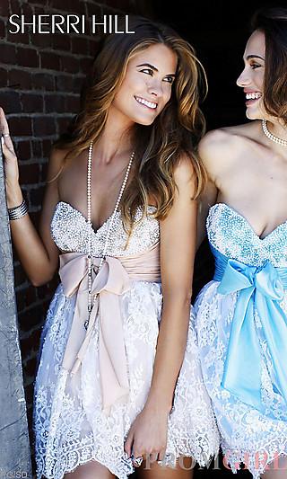 Sherri Hill Party Dresses, Short Strapless Prom Dresses- PromGirl