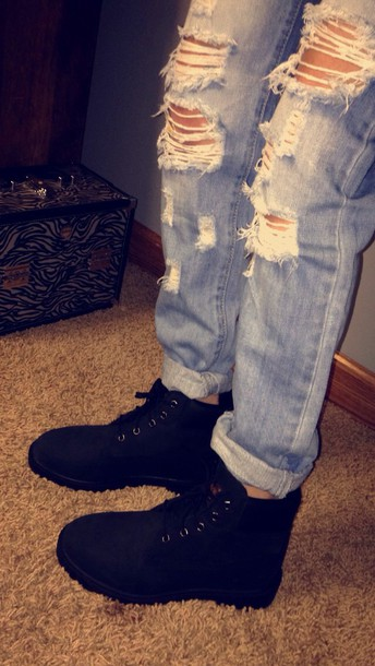 shoes timberland boots black timberlands pants ripped jeans