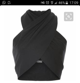 top black crop tops high neck wrap wrap top blouse dressy